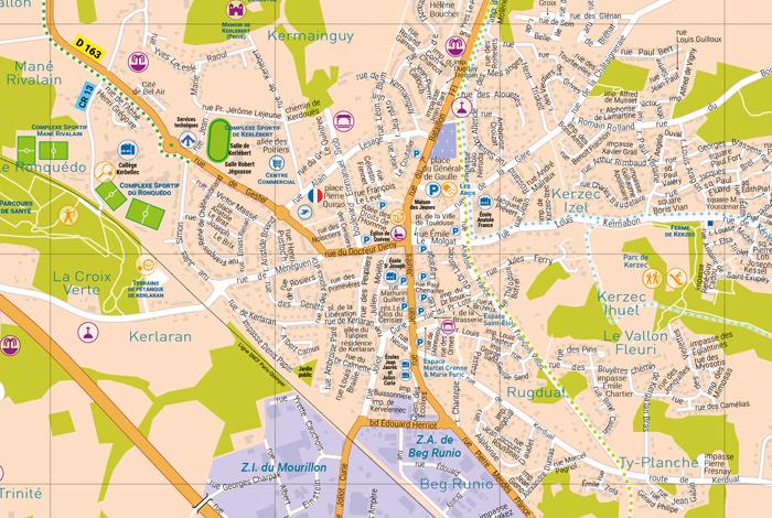 Zoom sur le plan de la ville de Quéven
