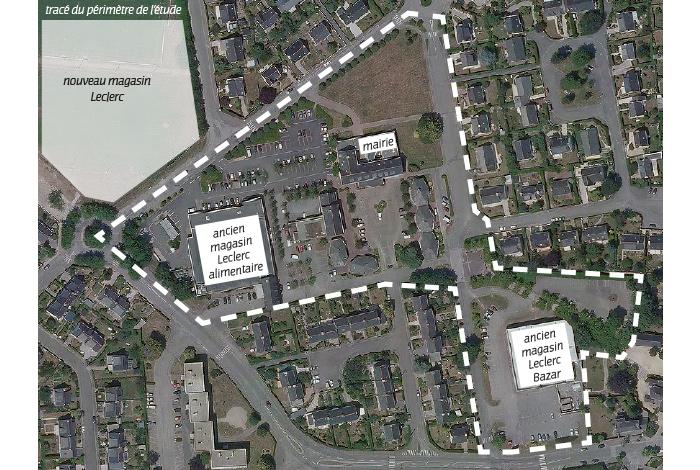 Vue aérienne du périmètre de l'étude de l'aménagement du centre-ville