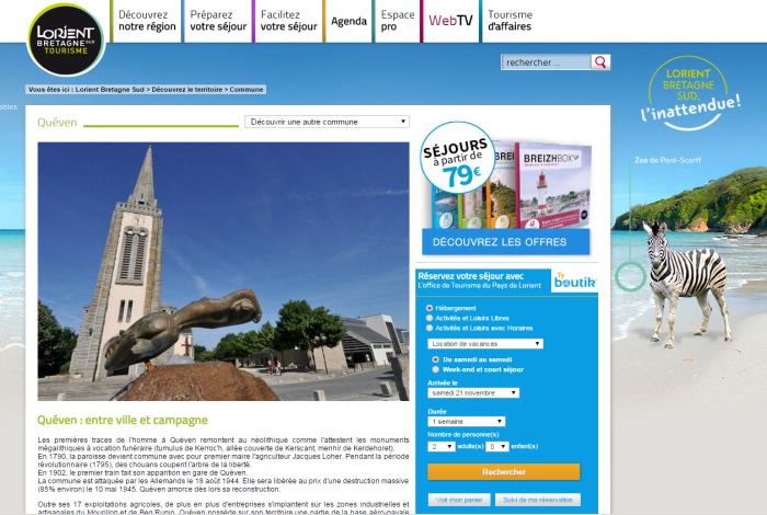 Site internet Lorient Bretagne Sud Tourisme
