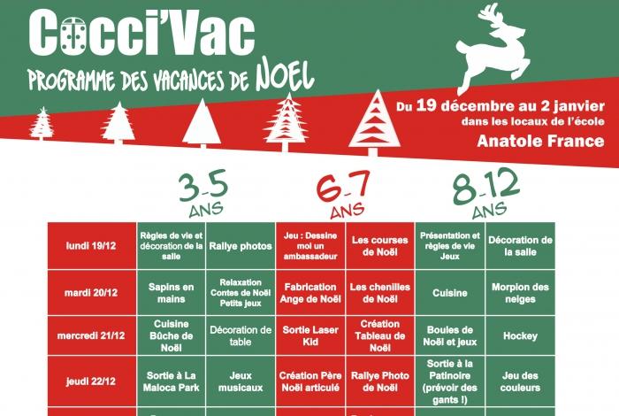 Programme des vacances de Noël pour les 3-12 ans