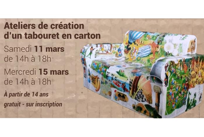 Ateliers de création d'un tabouret en carton animés par Perrine Bazin