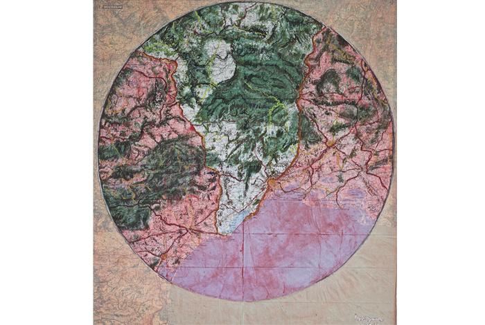 Exposition «Cartes et paysages», peintures et dessins sur cartes routières de Jean-Jacques Dournon