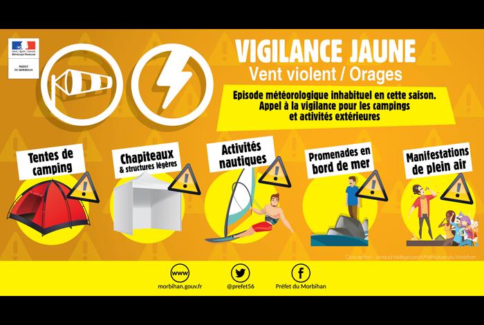 Alerte jaune vent violent et orages 29/07/2019