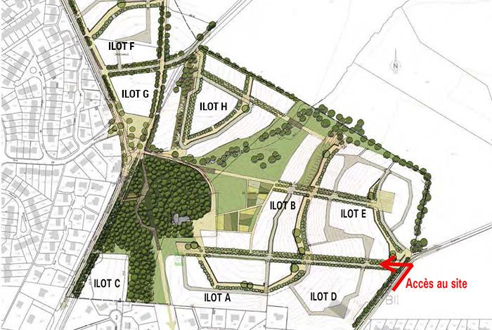 Plan des îlots du quartier de Croizamus