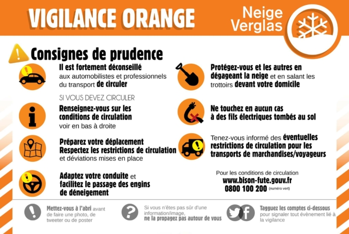 Vigilance orange Neige/Verglas mardi 9 février 2021