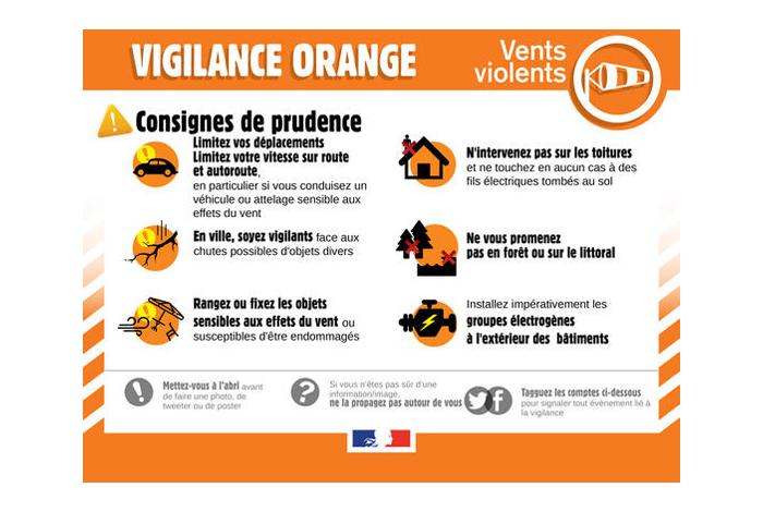 Alerte météo : vigilance orange /vent violent – Mercredi 20 octobre 2021